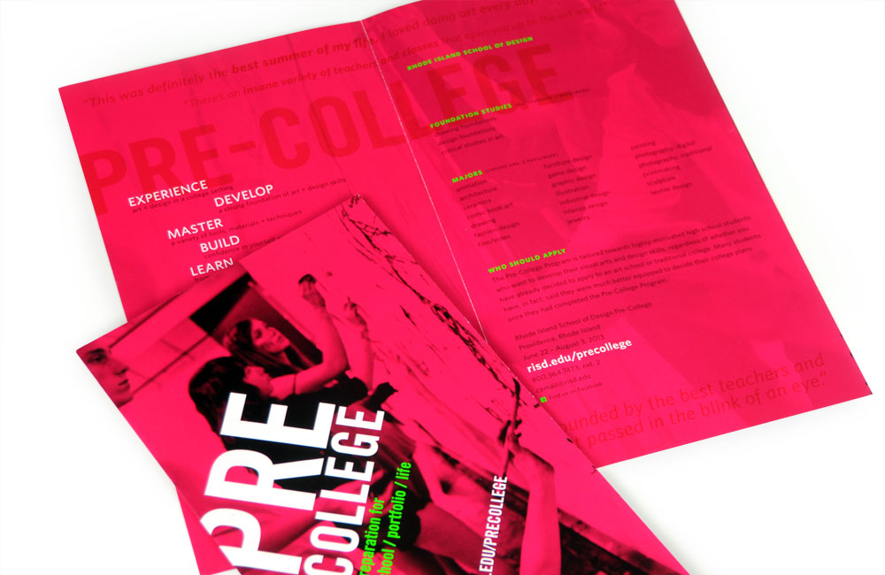 Rhode Island School of Design Continuing Education (RISD CE) Pre-College Poster, Mailer, Brochure