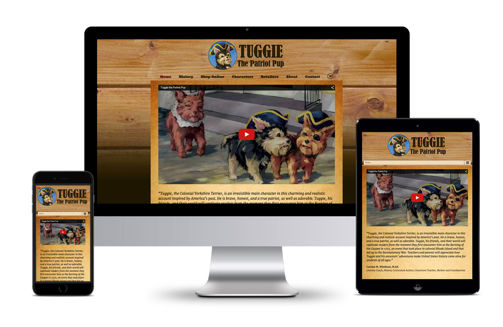 Tuggie the Patriot Pup Website Homepage